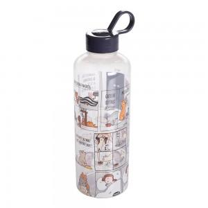 Imagem do produto - Garrafa de Plástico 970 ml com Tampa Rosca e Pegador Fixo Cilíndrica Cute Pets