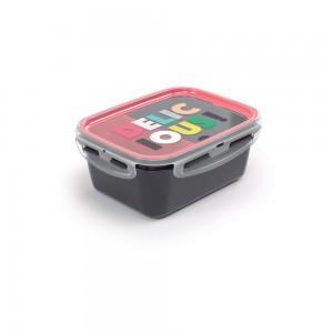 Imagem do produto - Marmita de Plástico 850 ml com Divisória Removível e Travas Laterais Tropical
