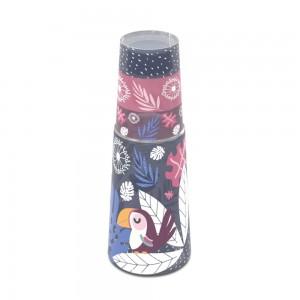 Imagem do produto - Garrafa Moringa de Plástico 960 ml com Copo Tropical