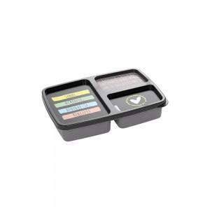 Imagem do produto - Pote de Plástico Retangular 1 L com 3 Divisórias Clic De Bem com a Vida