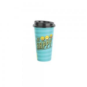 Imagem do produto - Copo de Plástico 500 ml com Tampa Café Emoji