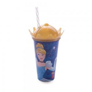 Imagem do produto - Copo de Plástico 500 ml com Tampa Coroa e Canudo Princesas Colecionáveis