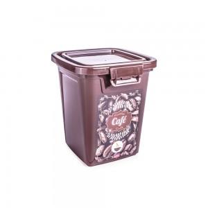 Imagem do produto - Pote de Plástico Retangular 1,8 L com Tampa Fixa e Trava Café