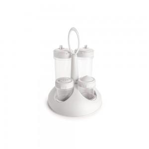 Imagem do produto - Galheteiro com Saleiro e Paliteiro de Plástico com Fechamento Rosca