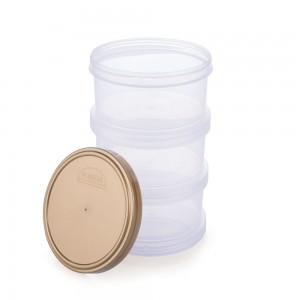 Imagem do produto - Conjunto Organizador de Plástico Empilhável com Tampa Rosca 3 Unidades
