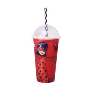 Imagem do produto - Copo Shake de Plástico 500 ml com Tampa e Canudo Miraculous