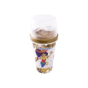 Imagem do produto - Mini Shakeira de Plástico 320 ml com Misturador, Fechamento Rosca e Sobretampa Articulável Super Hero Girls