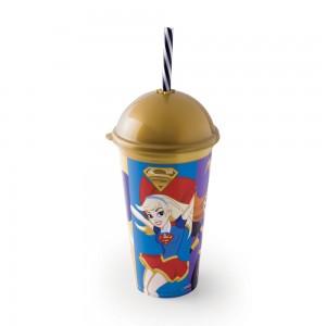 Imagem do produto - Copo Shake de Plástico 500 ml com Tampa e Canudo Super Hero Girls