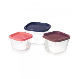 Imagem do produto - Conjunto de Potes de Plástico Quadrados Conect 3 unidades