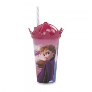 Imagem do produto - Copo de Plástico 500 ml com Tampa Coroa e Canudo Frozen