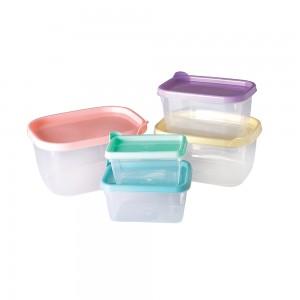 Imagem do produto - Conjunto de Potes de Plástico Retangulares Conect 5 unidades