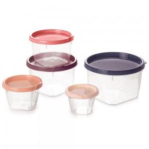 Imagem do produto - Conjunto de Potes de Plástico Redondos Conect 5 unidades