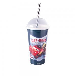 Imagem do produto - Copo Shake de Plástico 500 ml com Tampa e Canudo Carros
