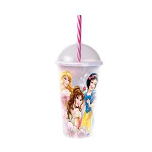 Imagem do produto - Copo Shake de Plástico 500 ml com Tampa e Canudo Princesas
