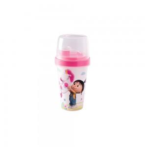 Imagem do produto - Mini Shakeira de Plástico 320 ml com Misturador, Fechamento Rosca e Sobretampa Articulável Meu Malvado Favorito