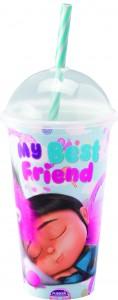 Imagem do produto - Copo Shake de Plástico 500 ml com Tampa e Canudo Meu Malvado Favorito Agnes