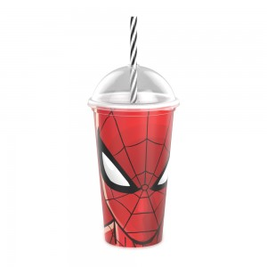 Imagem do produto - Copo Shake de Plástico 500 ml com Tampa e Canudo Homem Aranha