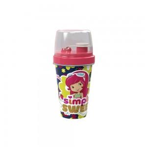 Imagem do produto - Mini Shakeira de Plástico 320 ml com Misturador, Fechamento Rosca e Sobretampa Articulável Moranguinho Vintage