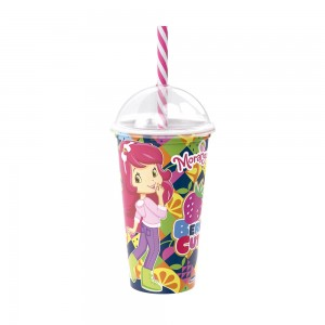 Imagem do produto - Copo Shake de Plástico 500 ml com Tampa e Canudo Moranguinho