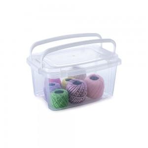 Imagem do produto - Caixa de Plástico Retangular Organizadora 2,6 L com Tampa, Travas Laterais e Alça Gran Box
