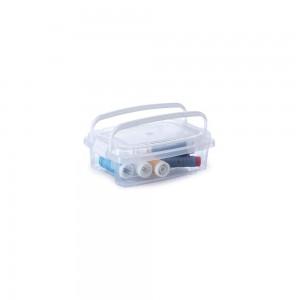 Imagem do produto - Caixa de Plástico Retangular Organizadora 410 ml com Tampa, Travas Laterais e Alça Gran Box