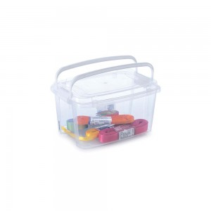 Imagem do produto - Caixa de Plástico Retangular Organizadora 690 ml com Tampa, Travas Laterais e Alça Gran Box