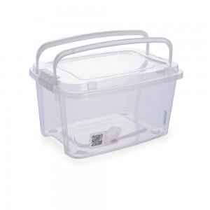 Imagem do produto - Caixa de Plástico Retangular Organizadora 10,7 L com Tampa, Travas Laterais e Alça Gran Box