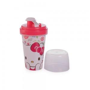 Imagem do produto - Mini Shakeira de Plástico 320 ml com Misturador, Fechamento Rosca e Sobretampa Articulável Hello Kitty
