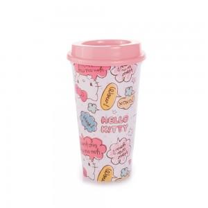 Imagem do produto - Copo de Plástico 500 ml com Tampa Café Hello Kitty