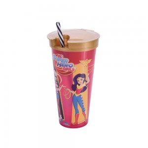 Imagem do produto - Copo de Plástico 540 ml com Compartimento e Canudo Super Hero Girls