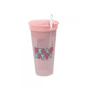 Imagem do produto - Copo de Plástico 540 ml com Compartimento e Canudo Hello Kitty