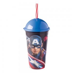 Imagem do produto - Copo Shake de Plástico 500 ml com Tampa e Canudo Avengers Capitão América