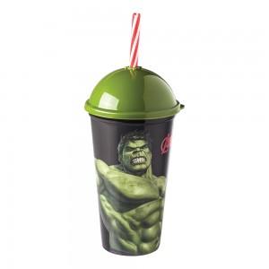 Imagem do produto - Copo Shake de Plástico 500 ml com Tampa e Canudo Avengers Hulk