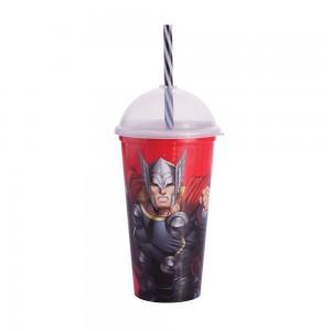 Imagem do produto - Copo Shake de Plástico 500 ml com Tampa e Canudo Avengers Thor