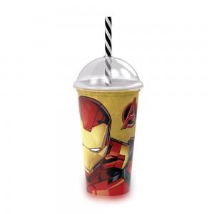 Imagem do produto - Copo Shake de Plástico 500 ml com Tampa e Canudo Avengers Homem de Ferro