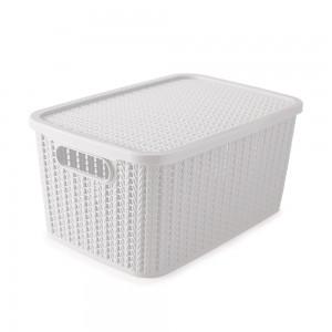 Imagem do produto - Caixa de Plástico Retangular Organizadora 8 L com Tampa e Pegador Trama