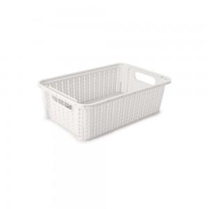 Imagem do produto - Cesta de Plástico Retangular Organizadora 2,1 L Empilhável Trama Branco