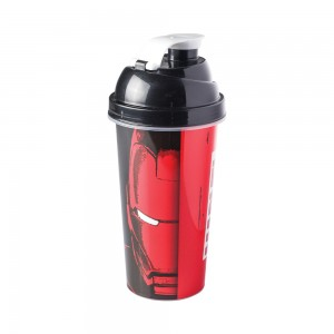 Imagem do produto - Shakeira de Plástico 580 ml com Tampa Rosca e Misturador Avengers Homem de Ferro