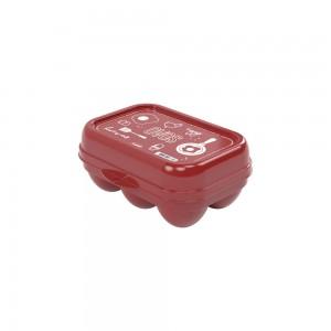 Imagem do produto - Porta Ovos de Plástico com Tampa Fixa Vermelho 6 Unidades