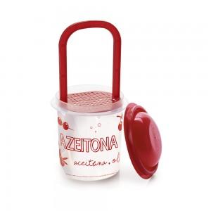 Imagem do produto - Pote de Plástico Redondo 670 ml para Conserva com Escorredor e Tampa
