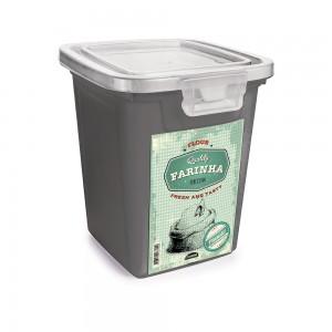 Imagem do produto - Pote de Plástico Retangular 1,8 L com Tampa Fixa e Trava Farinha Duo Retrô