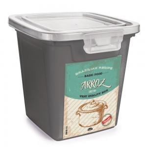Imagem do produto - Pote de Plástico Retangular 7,4 L com Tampa Fixa e Trava Arroz Duo Retrô