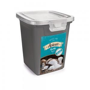 Imagem do produto - Pote de Plástico Retangular 1,8 L com Tampa Fixa e Trava Açúcar Duo Retrô