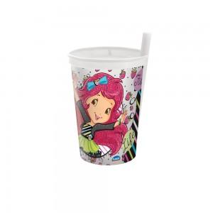 Imagem do produto - Copo de Plástico 330 ml com Canudo Fixo Moranguinho