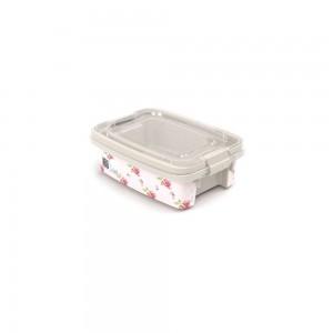 Imagem do produto - Caixa de Plástico Retangular Organizadora 410 ml com Tampa, Travas Laterais e Alça Gran Box Floral