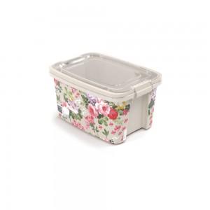 Imagem do produto - Caixa de Plástico Retangular Organizadora 1,5 L com Tampa, Travas Laterais e Alça Gran Box Floral