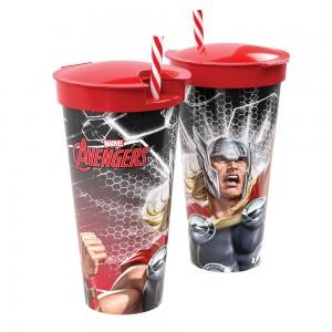 Imagem do produto - Copo de Plástico 540 ml com Compartimento e Canudo Avengers Thor