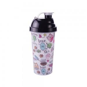 Imagem do produto - Shakeira de Plástico 580 ml com Tampa Rosca e Misturador Bubu e as Corujinhas