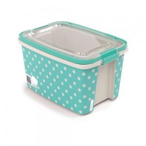 Imagem do produto - Caixa de Plástico Retangular Organizadora 10,7 L com Tampa, Travas Laterais e Alça Gran Box Poá