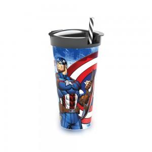Imagem do produto - Copo de Plástico 540 ml com Compartimento e Canudo Avengers Capitão América